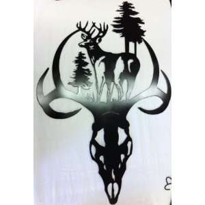 24x16 Inch Deer Skull with Buck in Forest Inlay Solid Steel Metal Art