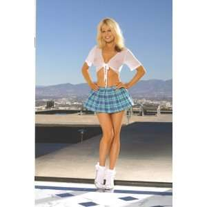 Costume Includes a Pleated Mini Skirt & Short Sleeve Tie Front Top S/M