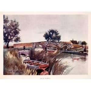 Bridge River Boat Marsh Wetlands Sail Grass Art   Original Color Print