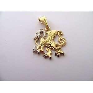 Two Tones Flying Dragon Gold Overlay Pendant Baby