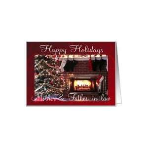 Happy Holidays Mother & Father in law, Christmas tree & fireplace Card