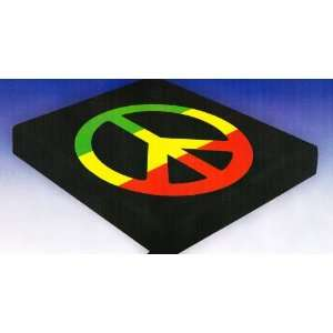 Green Yellow Red Peace Sign Black Blanket Queen Size