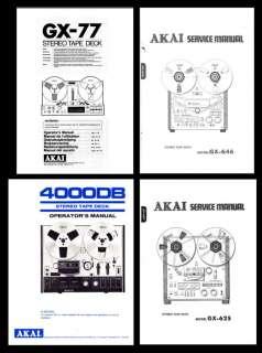 AKAI TAPE RECORDER OWNER AND SERVICE MANUALS ON CD R