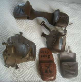 Lot Vtg Marx Toy Brown Saddle Horse Lot Action Figure