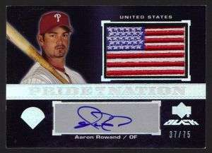 AARON ROWLAND #37/75 PATCH AUTOGRAPH 2007 UD BLACK PHILLIES