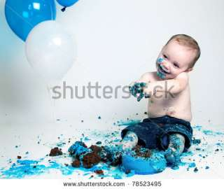 Boy Birthday Cake Smash Stock Photo 78523495 : Shutterstock
