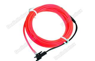 Flexible Neon Light Red EL Wire Rope Tube Car Party 3M