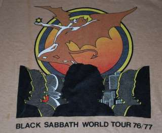 VINTAGE BLACK SABBATH WORLD TOUR SHIRT 1976 S