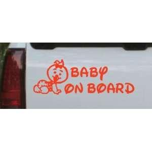 Baby On Board (Girl) Car Window Wall Laptop Decal Sticker    Red 18in
