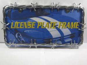 BARBED WIRE METAL LICENSE PLATE FRAME CHROME BARB L408
