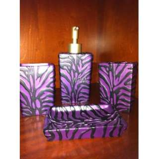 Bath Accessory Set 4 Pc Purple Black zebra Bathroom accessories Vanity