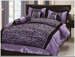 11pcs Purple Black Zebra Bed in a bag Comforter Set + Window Curtain