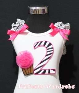 Hot Pink Zebra Print 2nd Birthday Cake Baby White Top