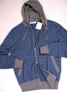 BRUNELLO CUCINELLI SWEATER BLUE/GRAY 100%CASHMERE BOMBER HOODED JUMPER