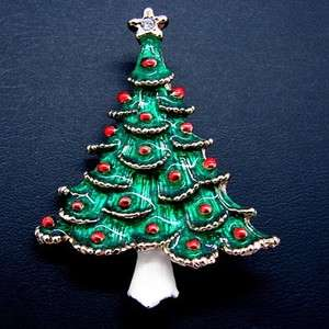 Enamel Christmas Tree Pin Brooch Rhinestone Star White Trunk