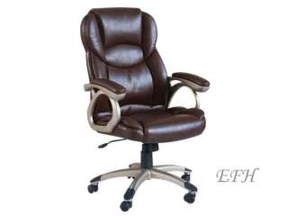 NEW CONTEMPORARY BROWN BYCAST LEATHER HOME OFFICE CHAIR