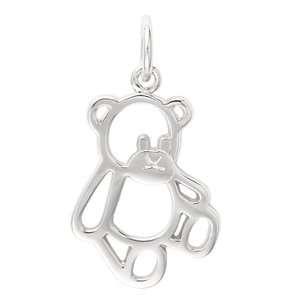 EZ Charms Sterling Silver Cut Out Teddy Bear Charm Bracelets