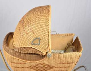 Antique 1920s WICKER BABY DOLL CARRIAGE BUGGY HEDSTROM UNION MFG.Co