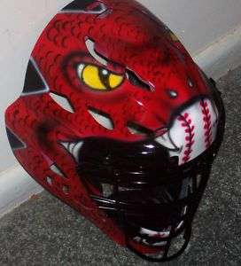 AIRBRUSHED RED SNAKE CATCHERS MASK RAWLINGS CFA 1 NEW ADULT SIZE