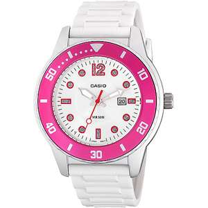 Casio Ladies Sport Watch, White with Pink Accents Watches