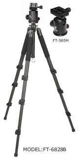 FT6828B Photo Camera Carbon Fiber Tripod &Drag Ball Head Kit