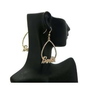 NICKI MINAJ BARBIE Rhinestone Pave Oval Earring Gold Clear