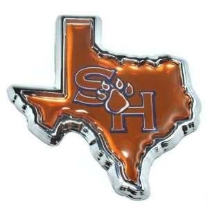 Sam Houston State Bearcats Texas Shape Chrome Metal Auto Emblem