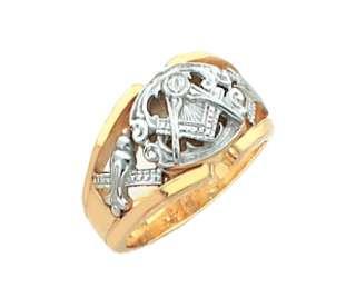 Solid Back Sterling Silver Gold Masonic Freemason Mason Ring