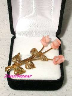 14K GOLD CARVED CORAL LONG STEM ROSE FLOWER PIN BROOCH