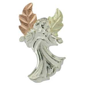 Black Hills Gold Sterling Silver Angel Lapel Pin Brooch