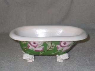 Vtg Hand Painted California Pottery Antique Bathtub Dish