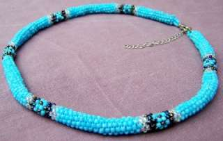 NATIVE PEYOTE STITCH LOOP BEADED NECKLACE TURQUOISE