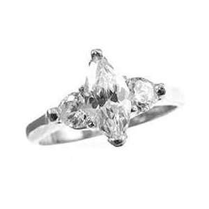 Gold, Fancy Engagement Lady Ring Marquise Cut Created Gems Jewelry