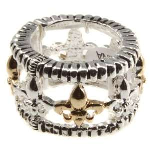 Silver tone stretch band ring featuring gold and silver tone Fleur De