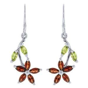 1.00 Ct Green Peridot Red Garnet Sterling Silver Flower