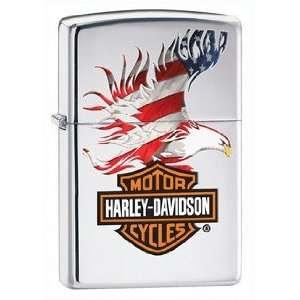 Harley Davidson USA Flag Eagle Wings Zippo Lighter, High