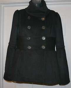 Ann Taylor LOFT Womens Black Wool Blend Peacoat Coat Jacket NWT
