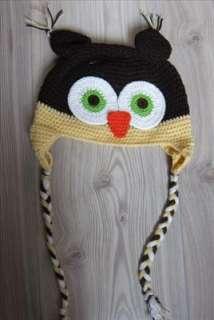 Baby Toddler Brown Yellow Crochet Owl Ear Flap Hat Cap