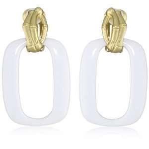 T Tahari Bamboo White and Gold Door Knocker Clip