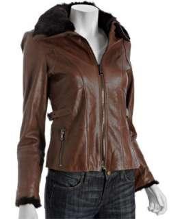 Andrew Marc sable leather rabbit fur trim zip jacket   up to