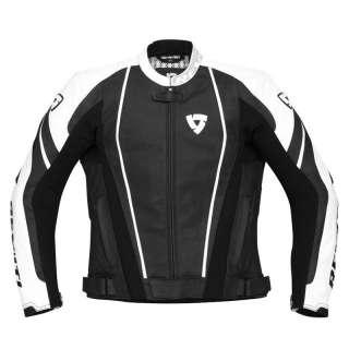 REVIT APOLLO LEATHER MOTORCYCLE RACE JACKET BLACK XL 44 Enlarged
