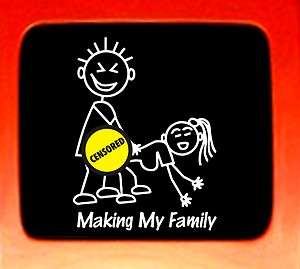 Making my Family Sticker figure family parody funny car window vinyl
