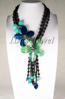 Onyx jade pearl crystal flower necklace VJ