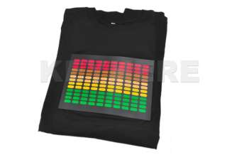 Sound Activated Light Up And Down DJ Disco Dancing LED EL T Shirt Size