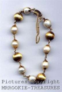 14K Gold PEARL & BALL Bracelet 7 1/2 w/safety chain