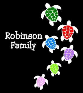 Turtle Family Stick Family Vinyl Car Decal Sticker