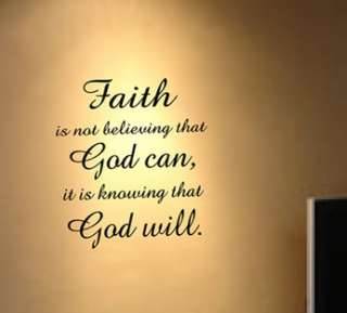 Faith God quote Wall Decal Decor Art Sticker Mural