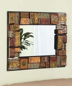 SQUARE ABSTRACT MODERN ART METAL EMBOSSED WALL MIRROR DECOR NEUTRAL