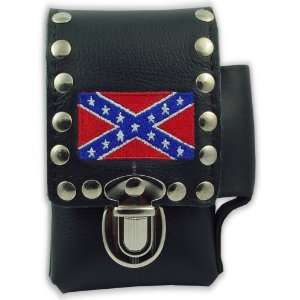 Rebel Confederate Flag Leather Cigarette & Lighter Case