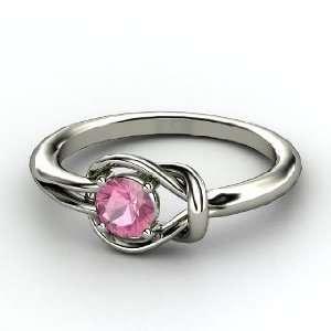 Hercules Knot Ring, Round Pink Tourmaline Platinum Ring Jewelry